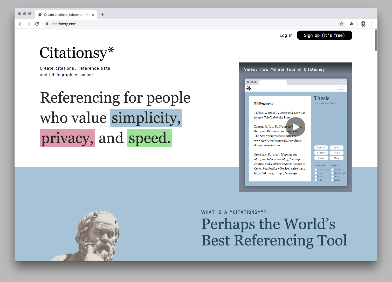 Screenshot of the Citationsy Website