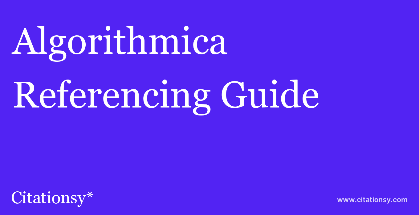 cite Algorithmica  — Referencing Guide