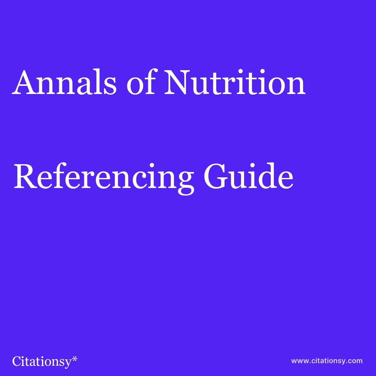 Annals of Nutrition & Metabolism