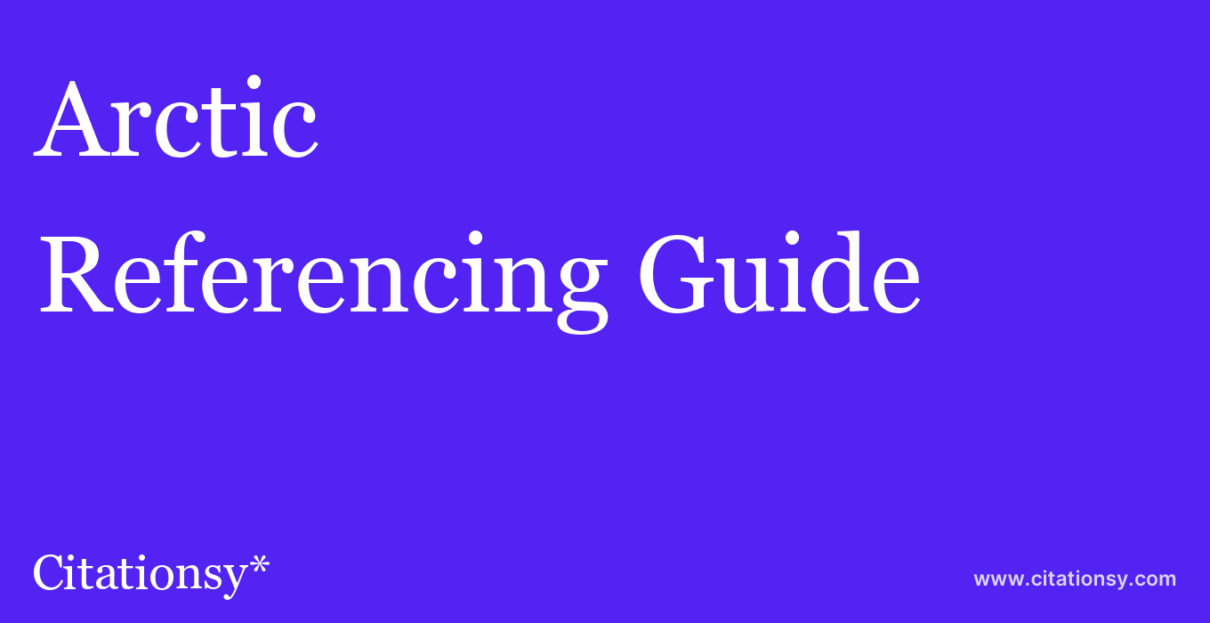 cite Arctic  — Referencing Guide