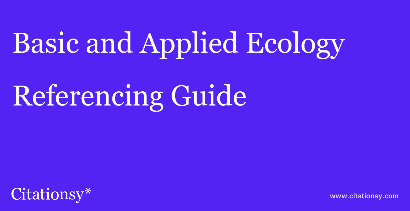 cite Basic and Applied Ecology  — Referencing Guide