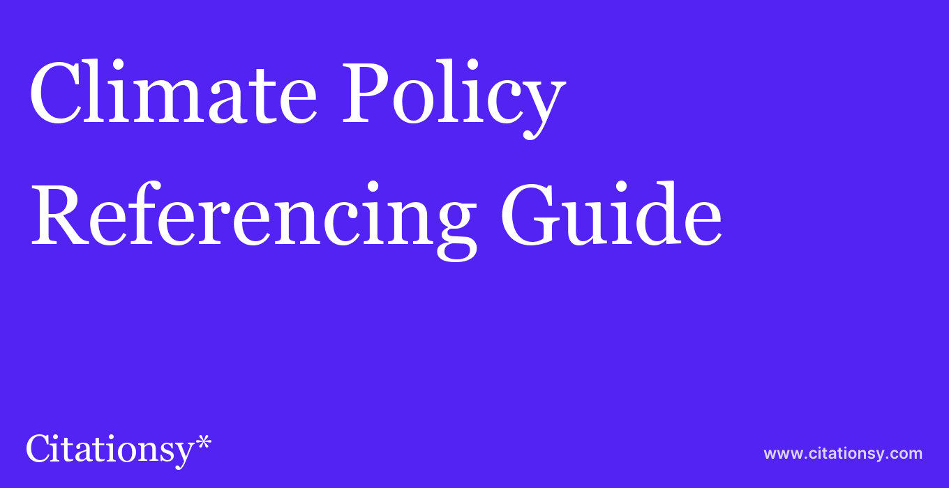 cite Climate Policy  — Referencing Guide