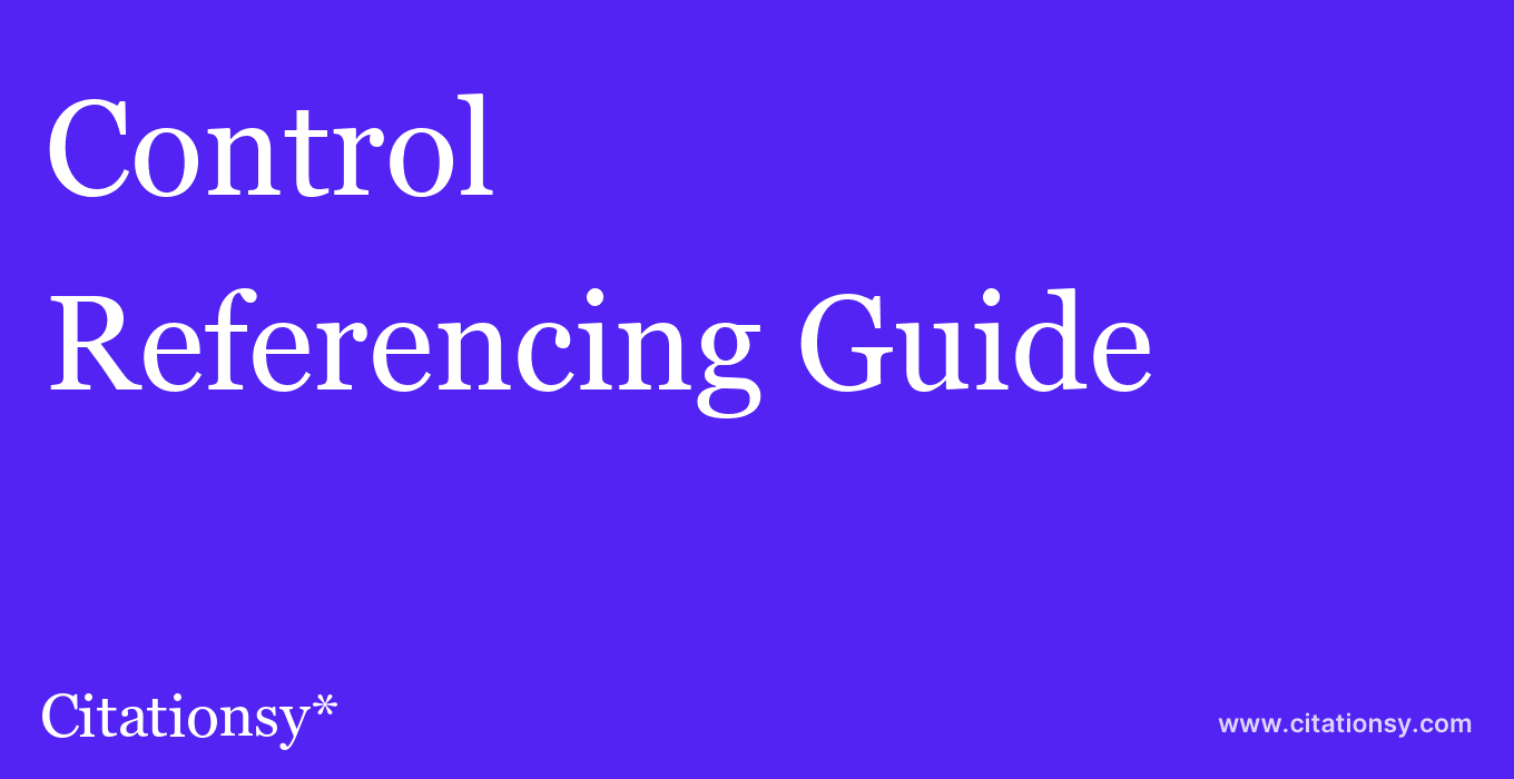 cite Control & Automation  — Referencing Guide