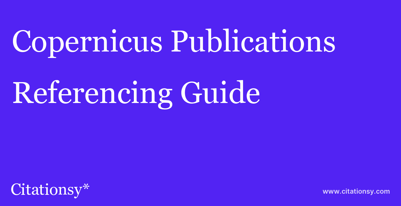 cite Copernicus Publications  — Referencing Guide