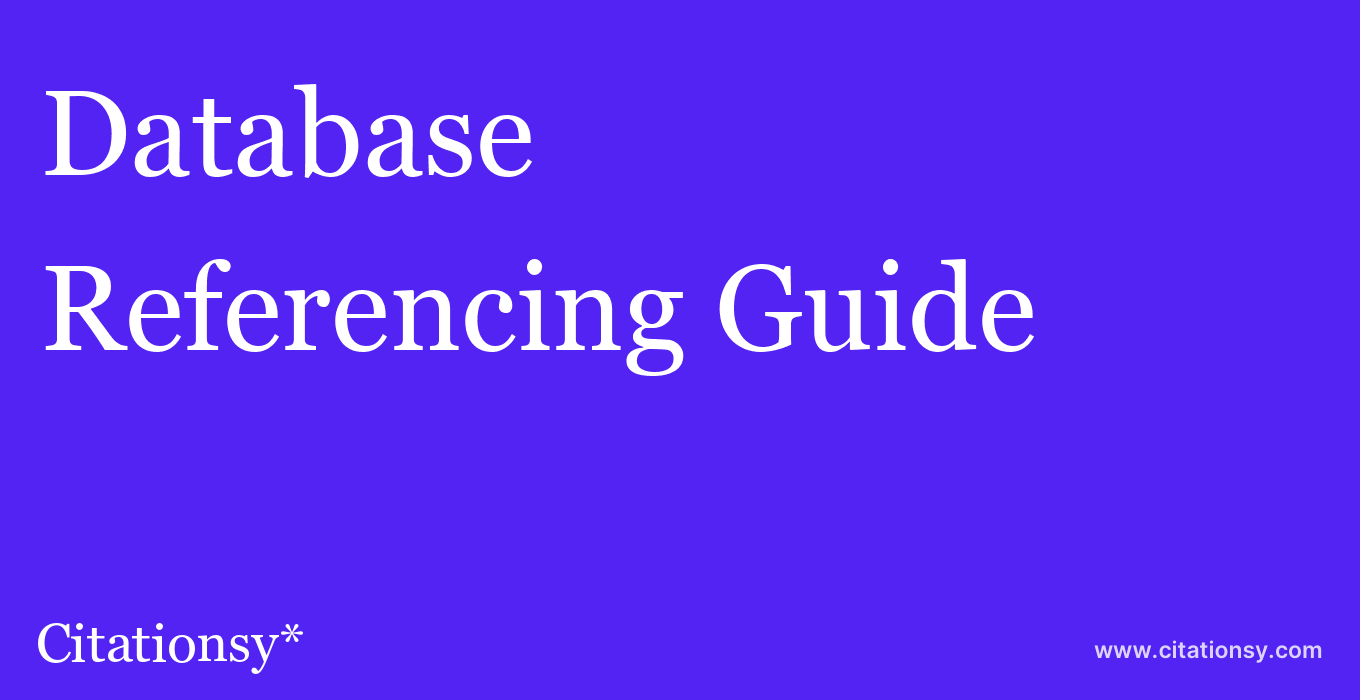 cite Database  — Referencing Guide