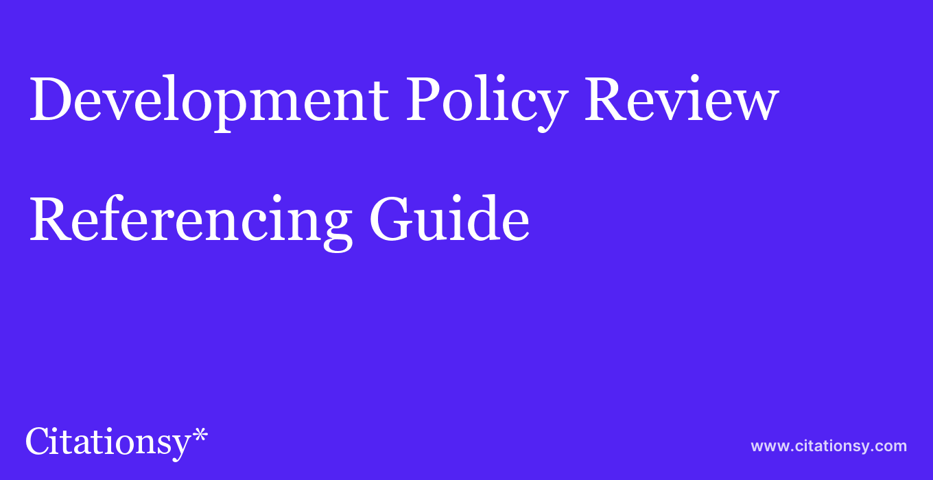 cite Development Policy Review  — Referencing Guide