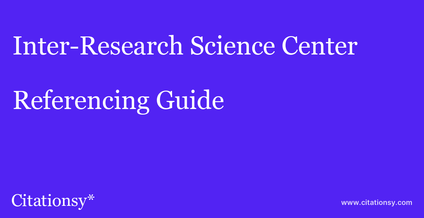 cite Inter-Research Science Center  — Referencing Guide