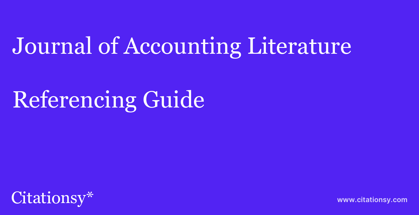 cite Journal of Accounting Literature  — Referencing Guide
