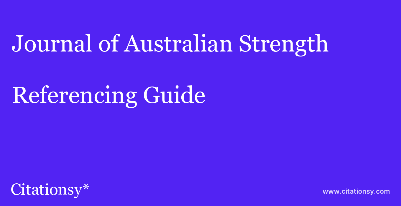 cite Journal of Australian Strength & Conditioning  — Referencing Guide