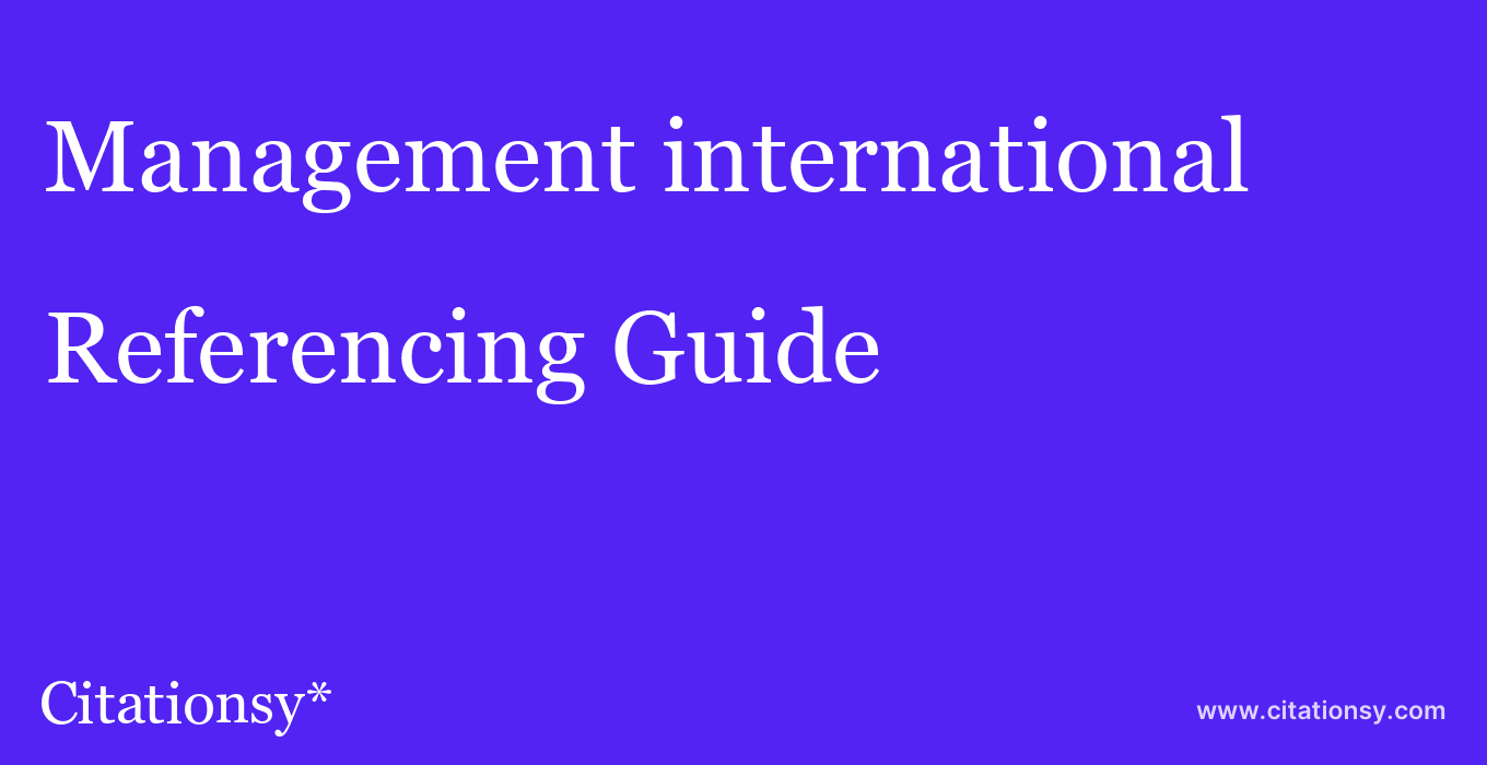 cite Management international  — Referencing Guide