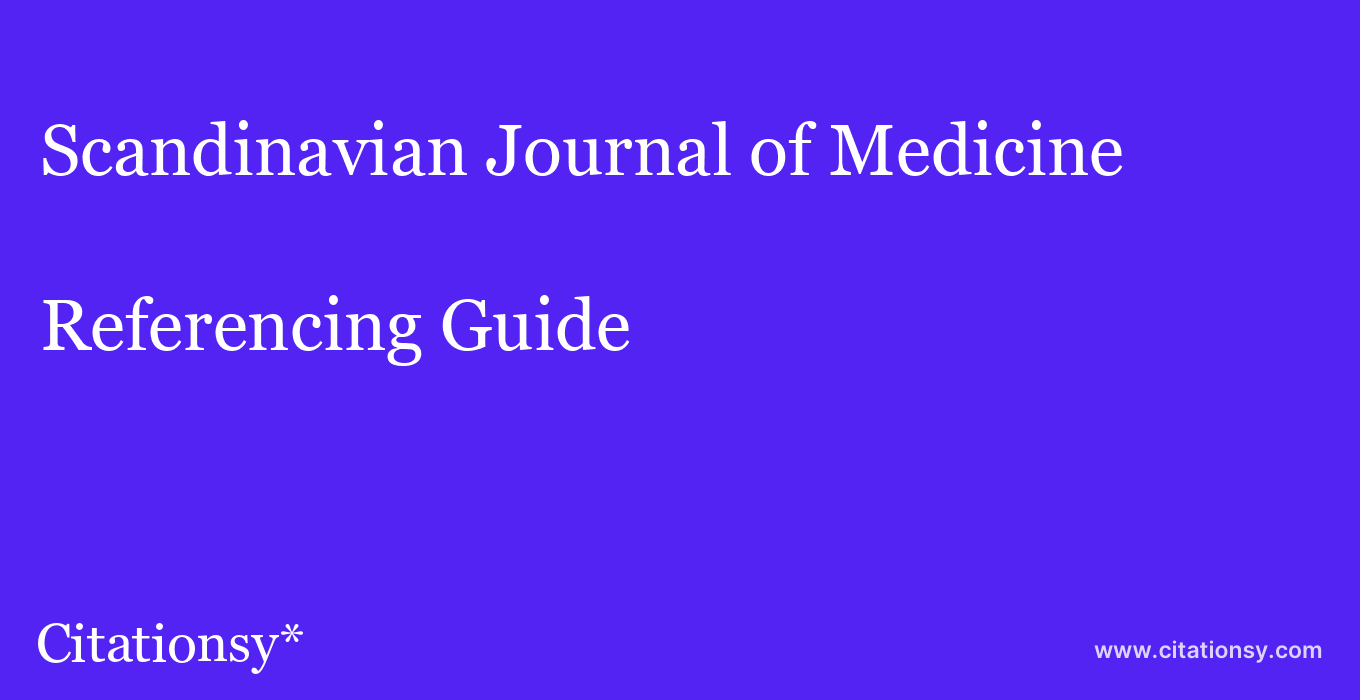 cite Scandinavian Journal of Medicine & Science in Sports  — Referencing Guide
