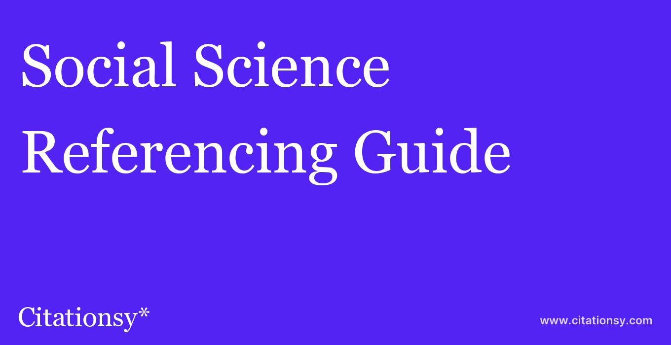 cite Social Science & Medicine  — Referencing Guide